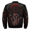 BEAR AND GIRL NATIVE OVER PRINT BOMBER JACKET