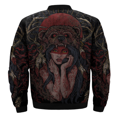 Buy BEAR AND GIRL NATIVE OVER PRINT BOMBER JACKET - Familyloves hoodies t-shirt jacket mug cheapest free shipping 50% off