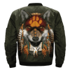 AMERICAN NATIVE WOLF OVER PRINT BOMBER JACKET