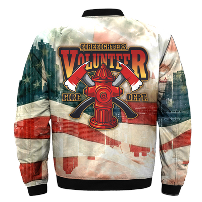 Buy AMERICAN FIREFIGHTER VOLUNTEER-FIRE-DEPT over print Bomber jacket - Familyloves hoodies t-shirt jacket mug cheapest free shipping 50% off