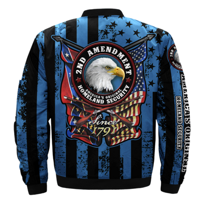 Buy 2ND AMENDMENT, AMERICA'S ORIGINAL, HOMELAND SECURITY over print Bomber jacket - Familyloves hoodies t-shirt jacket mug cheapest free shipping 50% off