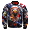 Cool Native Patriot Eagle over printed bomber jacket