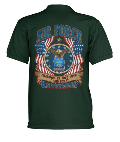 Buy Air Force freedom is not free i paid for it U.S veteran polo shirt - Familyloves hoodies t-shirt jacket mug cheapest free shipping 50% off