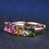 Buy Real Natural 100% 6pcs 1.5ct Oval Multi-color Tourmaline Ring  with 18K Rose Gold - Familyloves hoodies t-shirt jacket mug cheapest free shipping 50% off