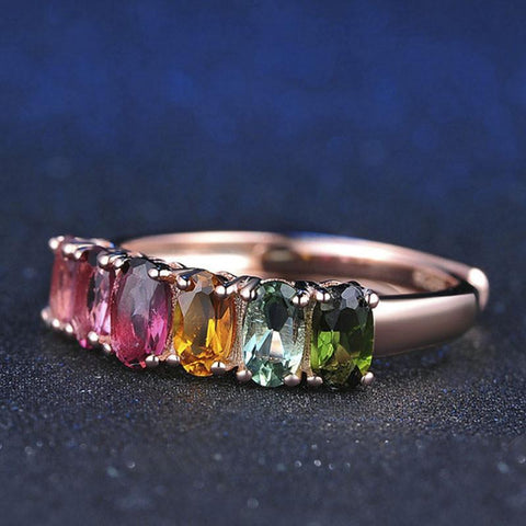 100% Real Natural 6pcs 1.5ct Oval Multi-color Tourmaline Ring  with 18K Rose Gold