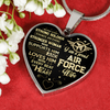 LOVE HIM WITH EVERY BEAT OF HER HEART... PROUD AIRFORCE WIFE necklaces & bangles