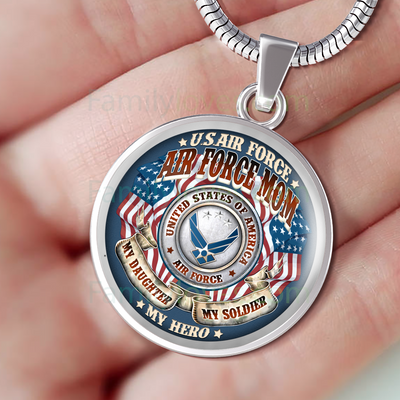 Buy AIR FORCE MOM MY DAUGHTER MY SOLDIER MY HERO LUXURY NECKLACE - Familyloves hoodies t-shirt jacket mug cheapest free shipping 50% off