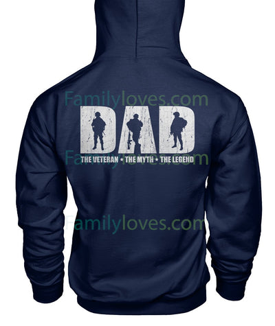 Buy DAD THE VETERAN THE MYTH THE LEGEND HOODIES - Familyloves hoodies t-shirt jacket mug cheapest free shipping 50% off