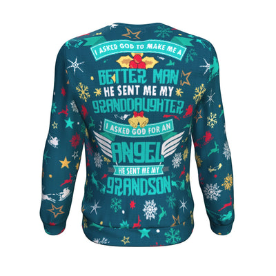 Buy I ASKED GOD TO MAKE ME A BETTER MAN HE SENT ME MY GRANDDAUGHTER ugly christmas sweater - Familyloves hoodies t-shirt jacket mug cheapest free shipping 50% off
