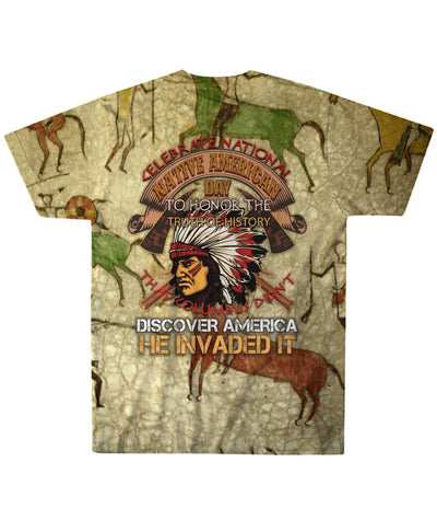 Buy CELEBRATE NATIONAL NATIVE AMERICAN DAY... OVER PRINT T-SHIRT - Familyloves hoodies t-shirt jacket mug cheapest free shipping 50% off