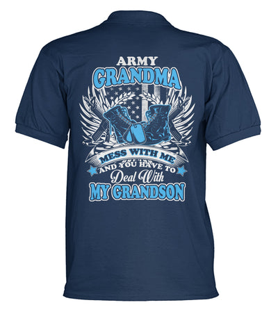 Buy Army grandma mess with me and you have to deal with my grandson polo shirt - Familyloves hoodies t-shirt jacket mug cheapest free shipping 50% off