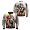 Colourful Native American Chief OVER PRINT BOMBER JACKET