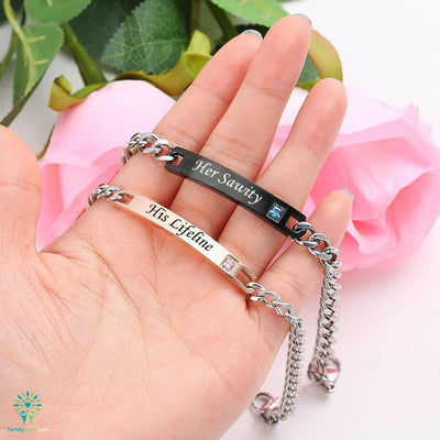 Buy Bracelets 2 PIECES FOR MEN AND FOR WOMEN his lifeline her sawity - Familyloves hoodies t-shirt jacket mug cheapest free shipping 50% off