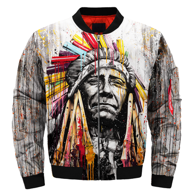 Buy Colourful Native American Chief OVER PRINT BOMBER JACKET - Familyloves hoodies t-shirt jacket mug cheapest free shipping 50% off