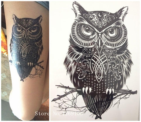 Native American OWL 21 X 15 CM Sized Temporary Tattoo Stickers