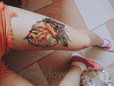 Yellow Fox and Feather Cool Beauty Tattoo Stickers 21 X 15 CM