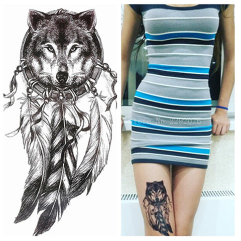 Native American Wolf with Feather Cool Beauty Tattoo Waterproof Stickers