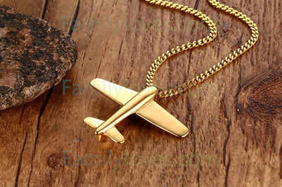 "Buy Air force Men's Stainless Steel Airplane Pendant Necklace Gold-Color Aircraft - 24"" Chain - Familyloves hoodies t-shirt jacket mug cheapest free shipping 50% off"