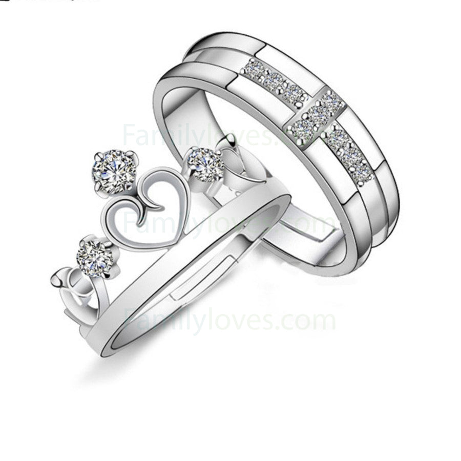 crystal crown cross couple valentines day rings gifts