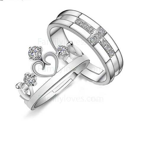 crystal crown cross couple valentine's day rings gifts