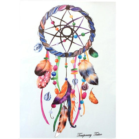 Feather  Dreamcatcher Waterproof Hot Temporary Tattoo Stickers 21 X 15 CM