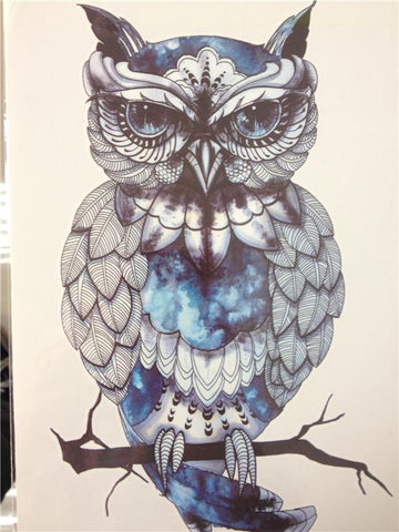 Native American Blue OWL SO COOL 21 X 15 CM Temporary Tattoo Stickers