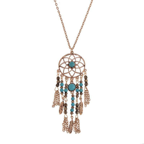 Collier Femme Plume Dreamcatcher Native American Fringe Necklace Collier attrape reve Colares Boho Chic Collana AcchiappasogniFamilyloves