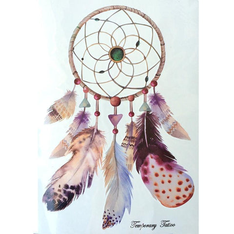 Dreamcatcher With Big Feathers Hot Temporary Tattoo Stickers 21 X 15 CM