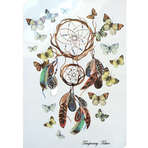 Dreamcatcher With Beautiful Butterfly Waterproof Hot Temporary Tattoo Stickers 21 X 15 CM