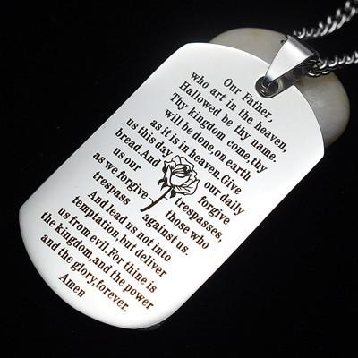Buy English Our Father Lord's Prayer Dog Tag Pendant Necklace 60 CM - Familyloves hoodies t-shirt jacket mug cheapest free shipping 50% off
