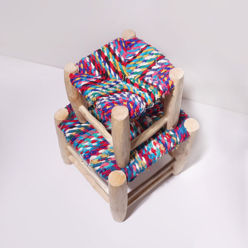 Color woven stool