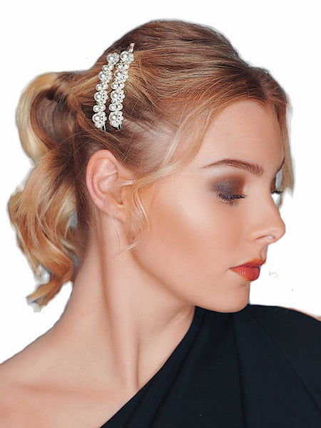 HAIR FLAIR | Silver Pearl Flowers Bobbies