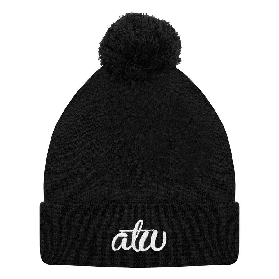ATW Knit Bobble Beanie Black