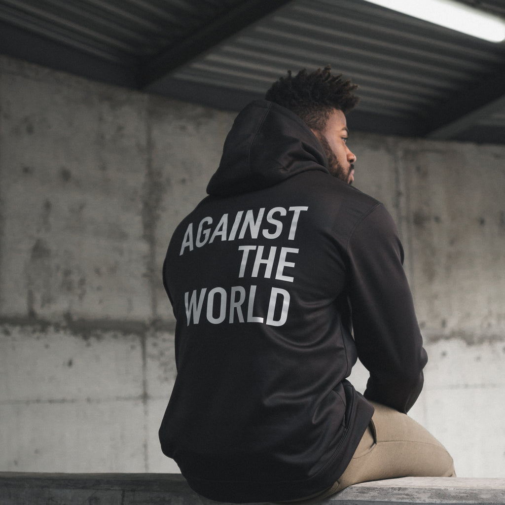 Against The World Black Poly Hoodie
