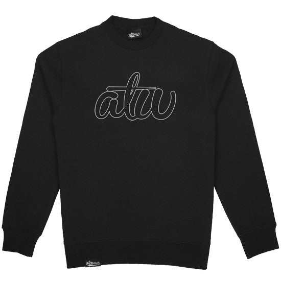 Hollow Logo Crewneck Black/White