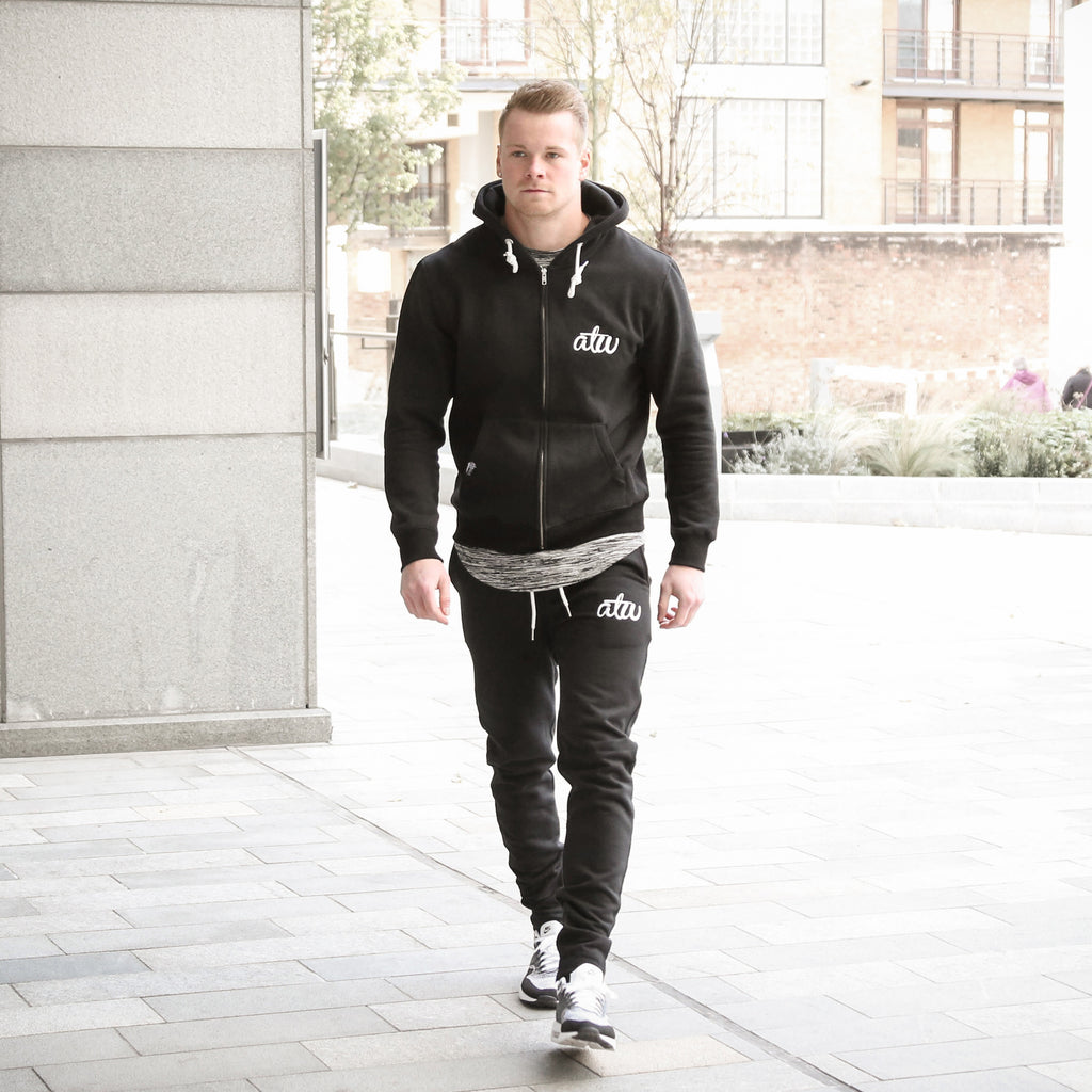 Zipped Joggers Black