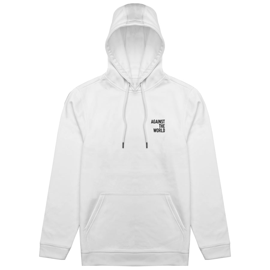 Against The World White Poly Hoodie