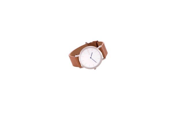 The Wanderlust (flat) | Tan / Brushed Silver w Navy (seconds)