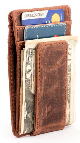 RAWHYD Leather Slim Wallet with Magnetic Money Clip - Made From 100% Full Grain Leather
