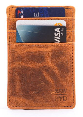 RAWHYD Genuine Leather Minimalist Wallet with Magnetic Money Clip - Made From 100% Full Grain Leather