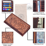 Tooled Leather Long Wallet for Men
