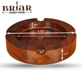 Briar & Oak Wood Cigar Ashtray w/ 4 Slot Cigar Holder | Large, Outdoor Cigar Ashtray Bowl