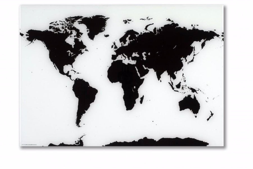 Black and White NAGA Glass World Map