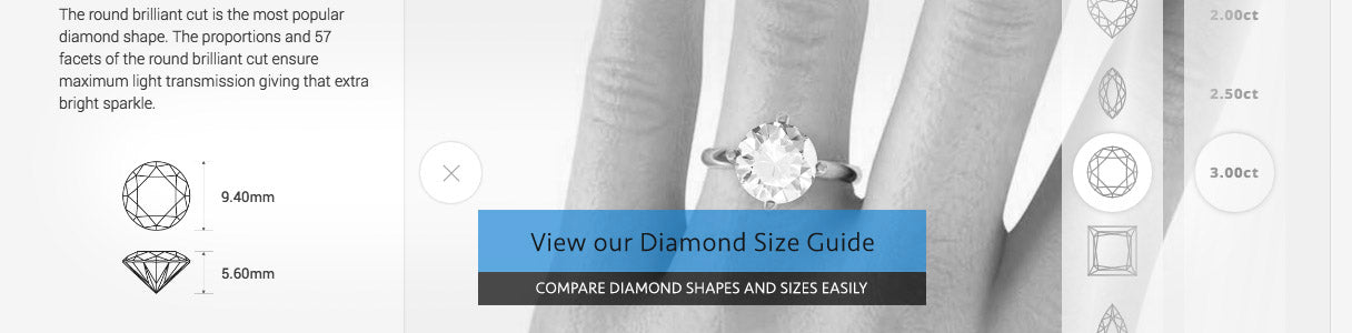 Compare Diamond Sizes and shapes