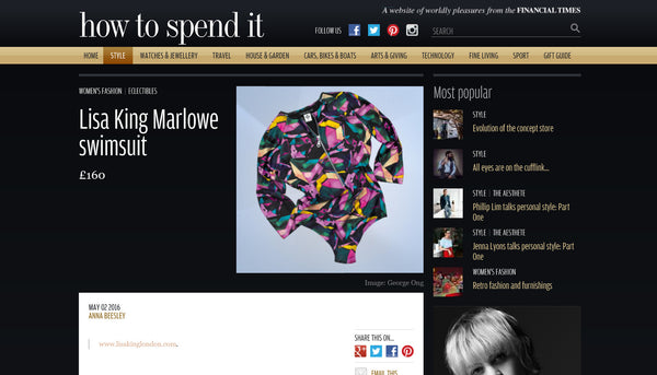 FT How to Spend it feature Lisa King's Marlowe Swimsuit