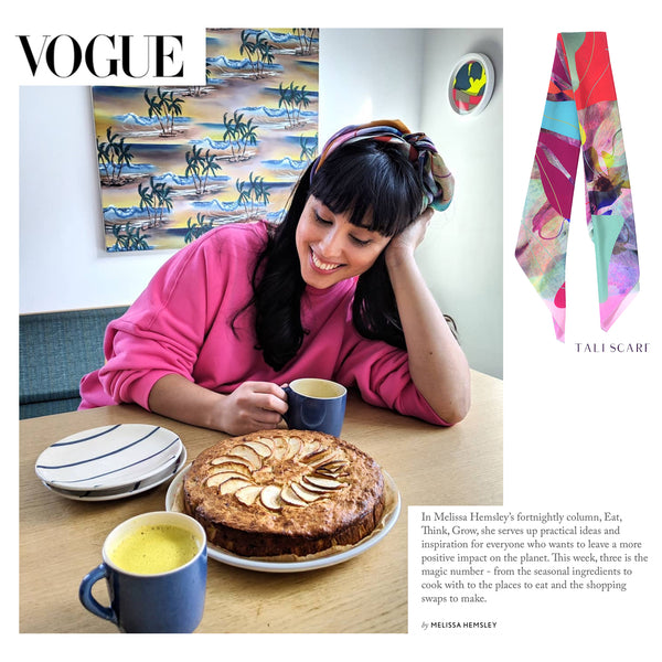 MELISSA HEMSLEY WEARS THE TALI SCARF IN HER NEW BRITISH VOGUE COLUMN