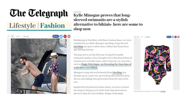 KYLIE MINOGUE STYLIST IN HER LISA KING LONG SLEEVE SWIMWEAR