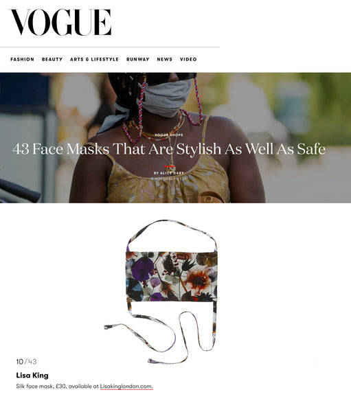 BRITISH VOGUE FEATURE THE GLADYS FACE MASK