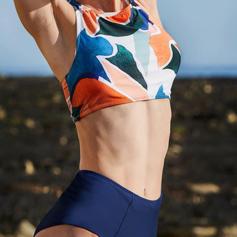KARLA ONE PIECE SWIMSUIT IN ORANGE / BLUE/ WHITE