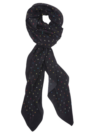 BLACK SILK SMALL SCREW PRINT 140X140 CM SCARF